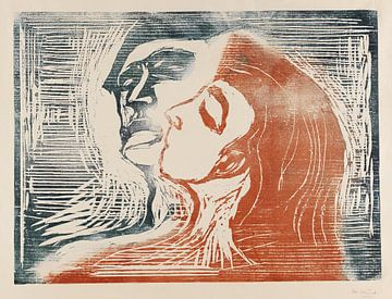 Mann und Weib sich küssend - Kopf bei Kopf, EDVARD MUNCH, 1905 von Atelier Liesjes
