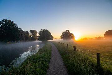 Mistige zonsopkomst bij het jaagpad op landgoed Rhijnauwen. van Arthur Puls Photography