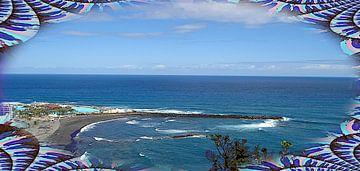 Gezicht op Playa de Martiánez ingebed in bloemen van kanarischer Inselkrebs Heinz Steiner