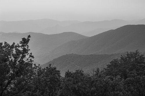 Die Hügellandschaft der französischen Cevennen im Dunst, Schwarzweißfoto