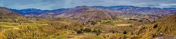 Panorama van de Colca vallei bij Chivay, Peru van Rietje Bulthuis