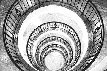 Cirkel trappengat in zwart-wit van Michar Peppenster