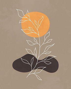 Abstrakte minimalistische Landschaft in hellen Herbstfarben von Tanja Udelhofen