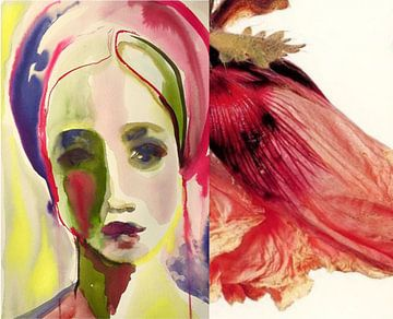 Flora Collage Rosa von Helia Tayebi Art
