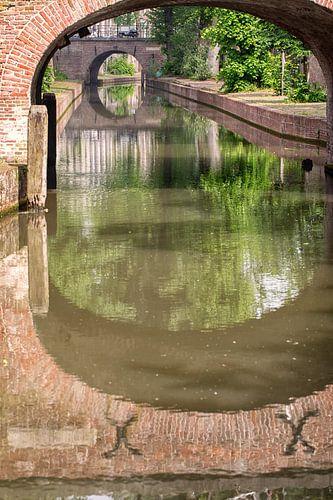 De Brigittenbrug over de Nieuwegracht in Utrecht in de zomer (2) van