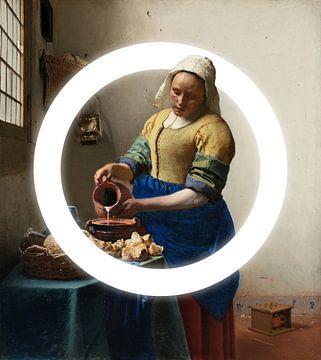 Het melkmeisje met licht cirkel