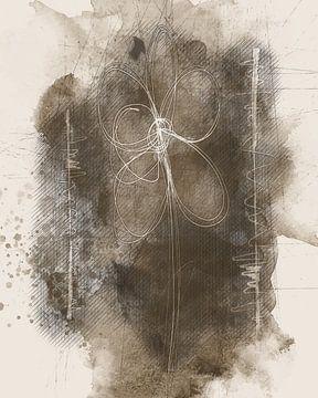 Sepia-Skizze mit Blume von Joost Hogervorst