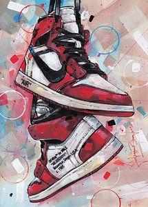 Nike air Jordan 1 Retro High Off-White Chicago schilderij. van Jos Hoppenbrouwers