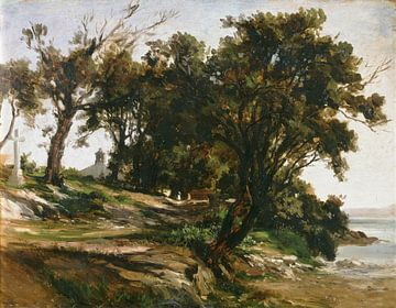 Carlos de Haes-Dorf am Flussufer Großbaulandschaft, Antike Landschaft