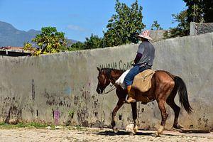 Cubanse boer op dravend paard van