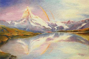 Matterhorn mit Regenbogen von Marita Zacharias