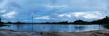 Ston Island met zonsondergang van