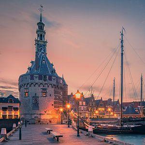 Le port de Hoorn après le coucher du soleil