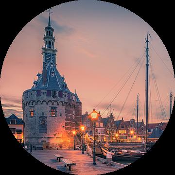 De haven van Hoorn na zonsondergang van Henk Meijer Photography