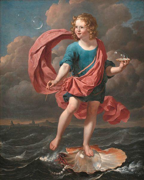 Junge bläst Seifenblasen. Allegorie auf die Vergänglichkeit und die Kürze des Lebens, Karel Dujardin von Meesterlijcke Meesters