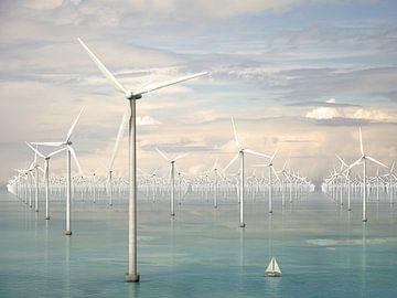 Tausend Windturbinen in Meer - Frühlingsbrise von Frans Blok