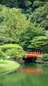 Rode brug in Japanse tuin van