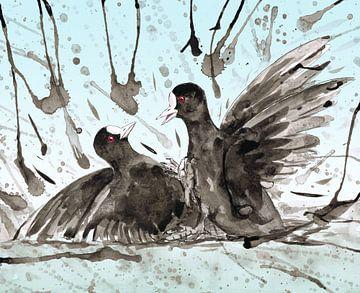 Kämpfende Blässhühner von Bianca Wisseloo