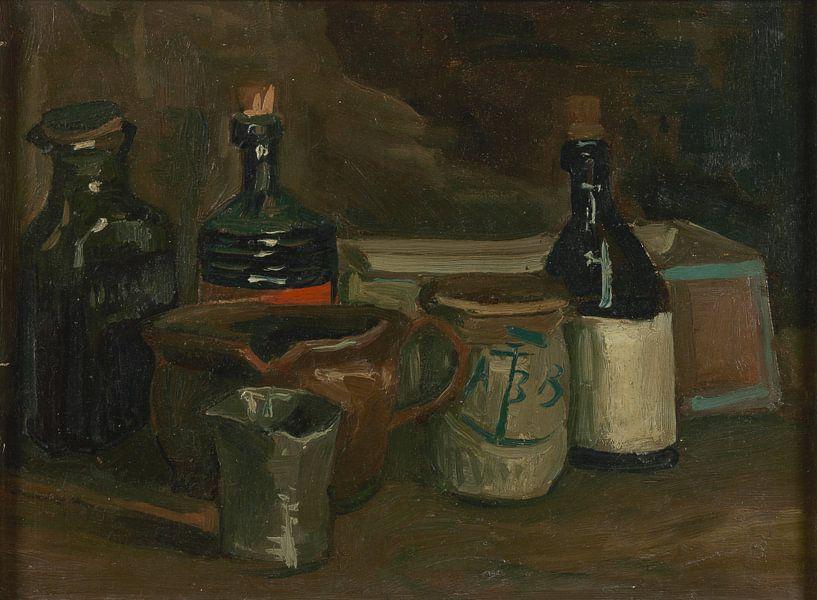 Still Life with Bottles and Earthenware, Vincent van Gogh von Meesterlijcke Meesters