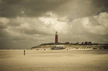 Vuurtoren Texel bij stormachtig weer