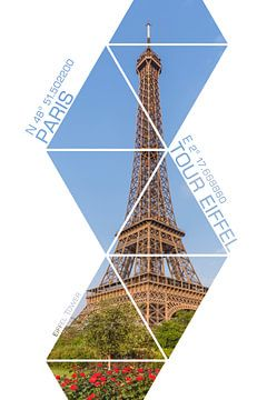 Coördinaten PARIS Eiffeltoren van Melanie Viola