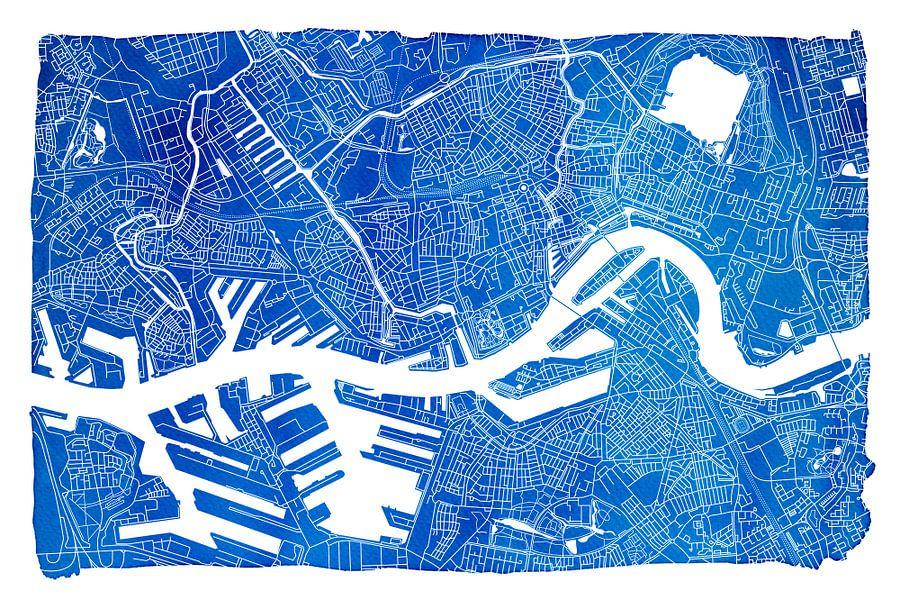 Rotterdam in Kaart - Blauw Aquarel 3:2 - witte kader