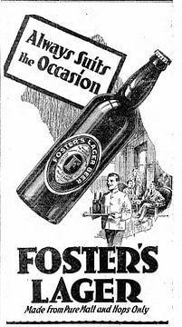 Bierwerbung von Foster Lager aus dem Jahr 1932