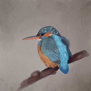 Ijsvogel aquarel van Femmie Van der knokke