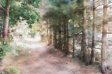 bospad aquarelachtig van Pim Klabbers