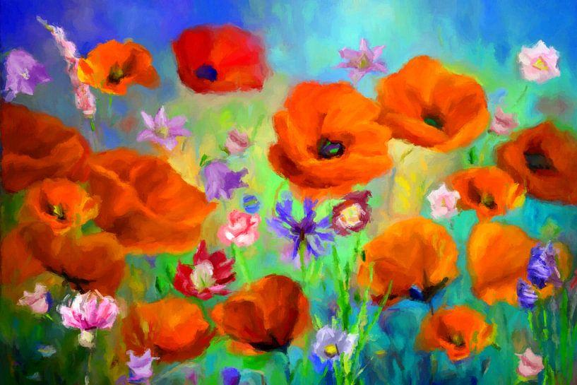 Blumenbild mit Mohn van Marion Tenbergen