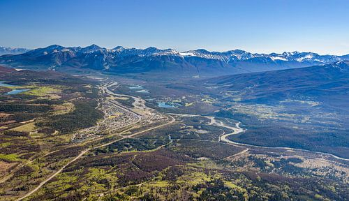 Jasper Nationaal Park vanaf Whistlers Mountain, Canada