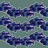 VISSEN zwemmend in rithmisch patroon van Marijke Mulder thumbnail