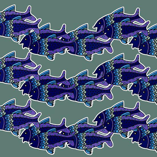 VISSEN zwemmend in rithmisch patroon van MY ARTIE WALL