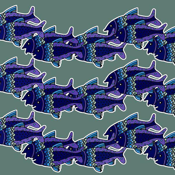 VISSEN zwemmend in rithmisch patroon van Marijke Mulder