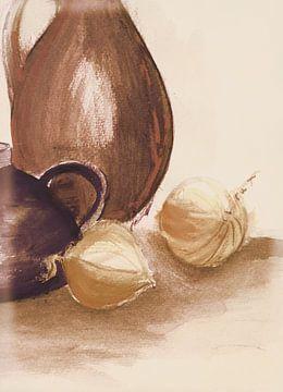 Krüge und Zwiebeln 1 Ton in Ton von Claudia Gründler