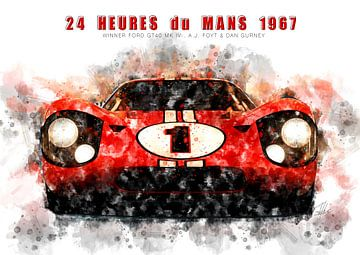 Ford GT40, Le Mans winnaar 1967 van Theodor Decker