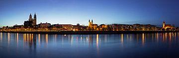 Magdeburg Skyline Panorama zur blauen Stunde von Frank Herrmann