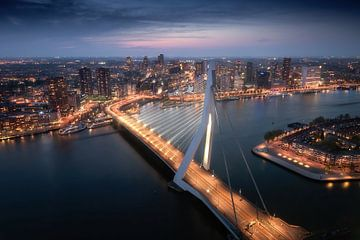 Rotterdam Erasmusbrug Avond van Niels Dam