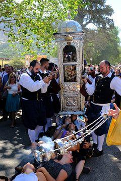 Sint Gerasimos processie op het Griekse eiland Kefalonia van Ruud Lobbes