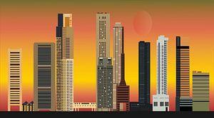 skyline singapur-stadt in asien mit hochhäusern und hotels