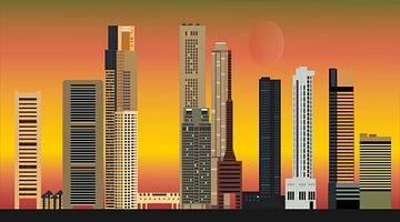 skyline singapore stad in azie met hoogbouw en hotels