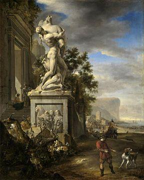 Südliche Landschaft mit Schlossfassade und Denkmal, Jan Weenix