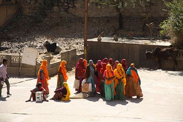 Groep pelgrims in India van Cora Unk