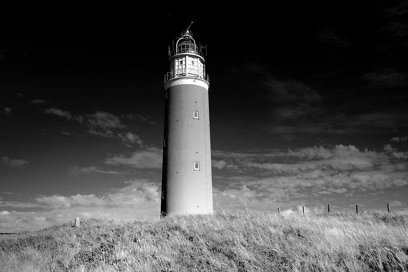 Vuurtoren, Nederlandse kust (zwart-wit) van Rob Blok