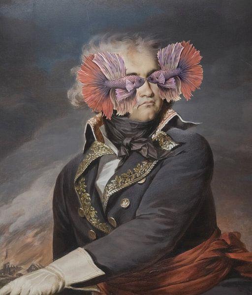Portrait d'un homme - qui cache ses yeux de poisson sur Rudy & Gisela Schlechter
