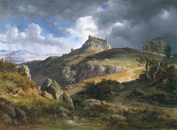 Blick auf die Burgruine von Canossa, Friedrich Preller, 1872 von Atelier Liesjes