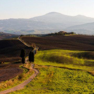 """De weg naar de boerderij uit de film """"The Gladiator"""" in de streek Val d'Orcia  in Toscane van John Trap"""