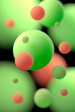 Drijvende ballen oranje en groen van Jörg Hausmann