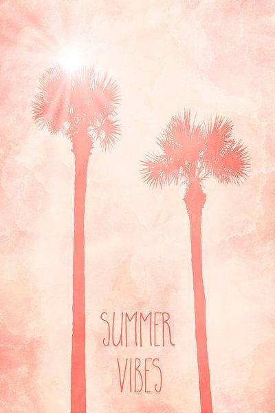 Grafische kunst PALMEN Summer Vibes | living coral van Melanie Viola