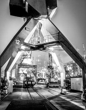 Kranen aan kade Leuvehaven, Rotterdam van Govart (Govert van der Heijden)